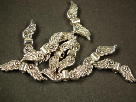 Flügelperlen antik silber