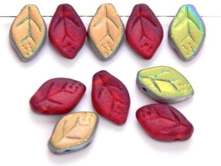 Glas-Blätter-Perlen 12x7 rot-matt-AB