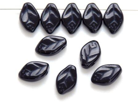 Glas-Blätter-Perlen schwarz 12x7