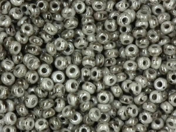 marmorierte Rocailles 9/0 2,6mm schwarz-weiß
