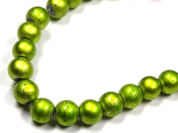 Wachsperlen 6mm metallic gesprenkelt hellgrün