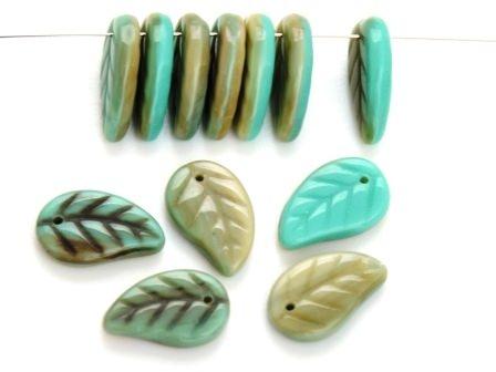 Glas-Blätter-Perlen 14x9 grau-grün