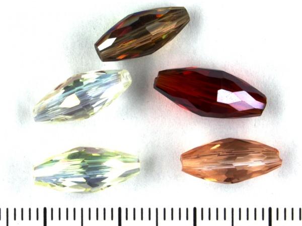 Glasschliff Oliven 15x6mm Farben Mix AB
