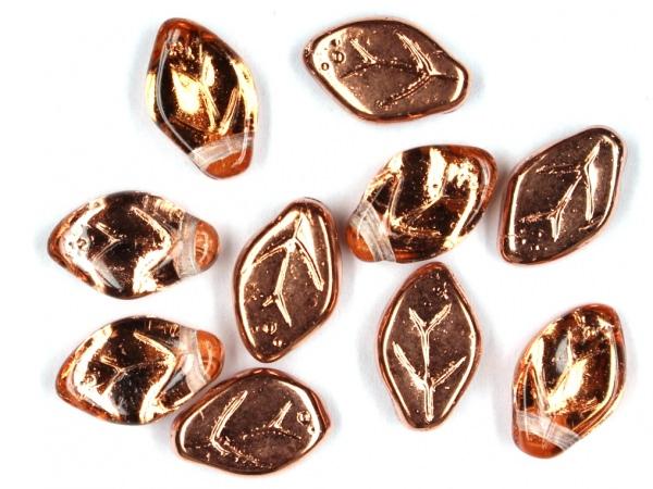 Glas-Blätter-Perlen 12x7 Kupfer-kristall