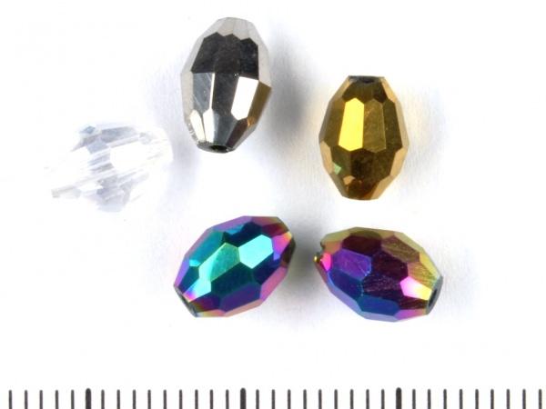 Glasschliff Oliven 8x6mm Farben Mix AB