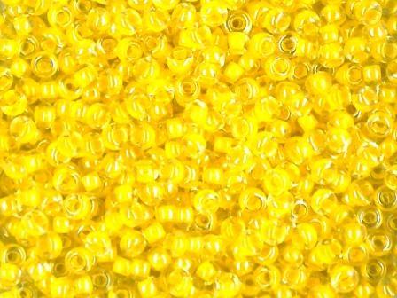 Rocailles 2,6mm 9/0 Farbeinzug gelb