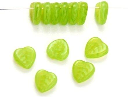 Glas-Blätter-Perlen 9mm alabaster grün
