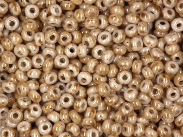 marmorierte Rocailles 9/0 2,6mm hellbraun