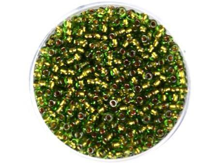 Rocailles 2,6mm Maigrün Farbeinzug Kupfer