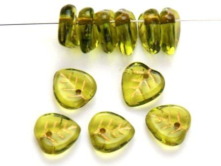 Glas-Blätter-Perlen 9mm maigrün-gold