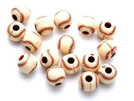 Sportperlen Baseball rot-braun