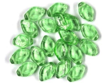 Glas-Blätter-Perlen hellgrün 12x7