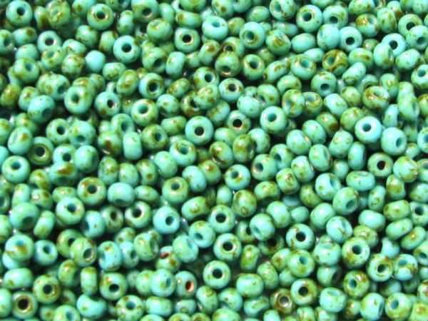 marmorierte Rocailles 9/0 2,6mm grün-braun