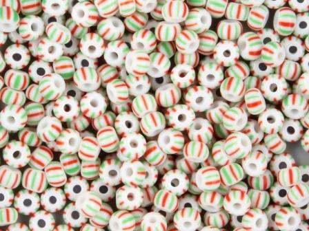 Rocailles 2,6mm 9/0 satt gestreift weiß-rot-grün