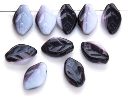 Glas-Blätter-Perlen schwarz-weiß 12x7