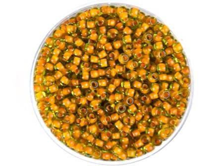 Rocailles 2,6mm Olivgrün Farbeinzug Orange