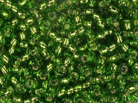 Rocailles 4mm 6/0 Silbereinzug hellgrün