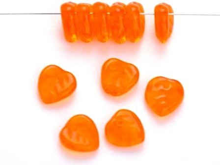 Glas-Blätter-Perlen 9mm orange