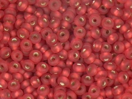 Rocailles 2,6mm silbereinzug matt rot 17g