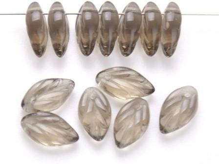 Glas-Blätter-Perlen Black-Diamond 11x7-H