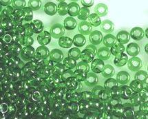 Rocailles 2,6mm 9/0 transparent hell smaragd grün