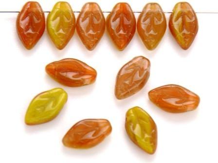 Glas-Blätter-Perlen 10x6 gelb-orange