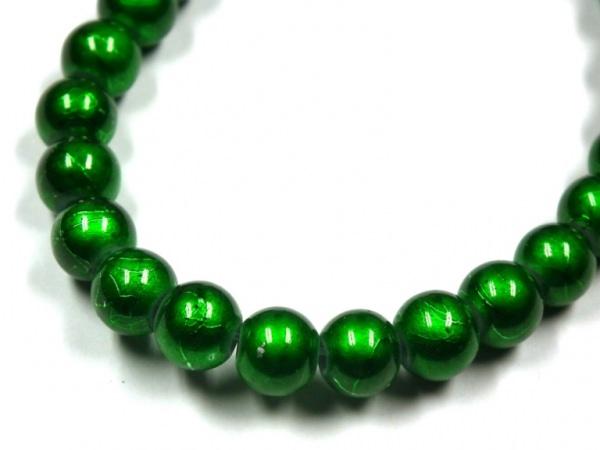 Wachsperlen 6mm metallic gesprenkelt grün
