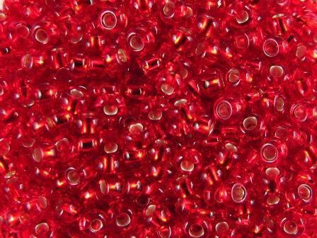 Rocailles 2,6mm 9/0 silbereinzug hell rubinrot