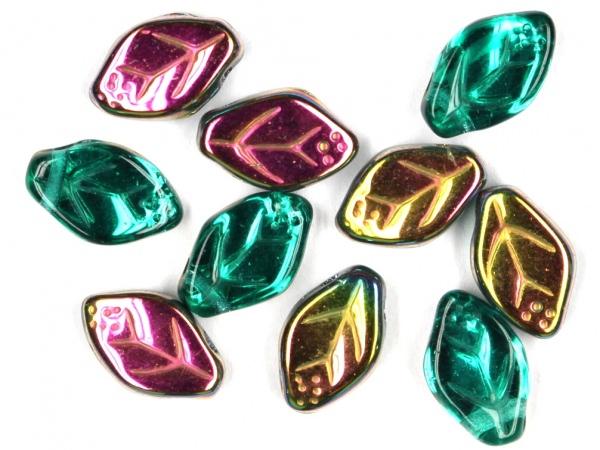 Glas-Blätter-Perlen 12x7 blaugrün-AB