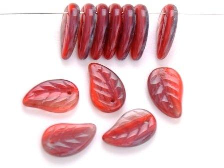 Glas-Blätter-Perlen 14x9 rot-kristall