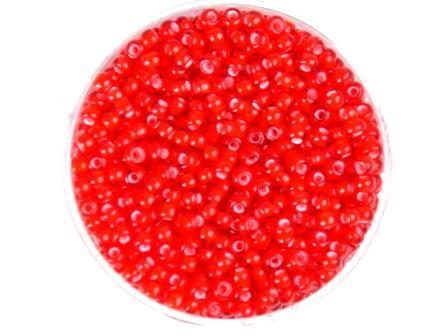 Rocailles 2,6mm Rot Farbeinzug weiß