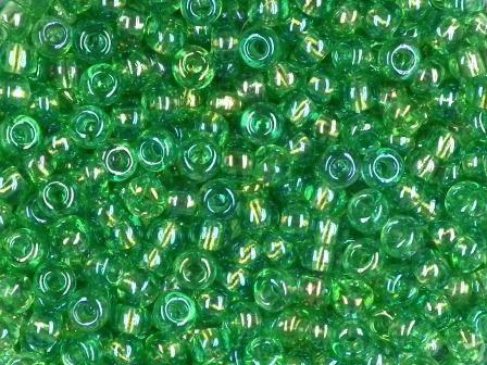 Rocailles 2,6mm rainbow grün 17g