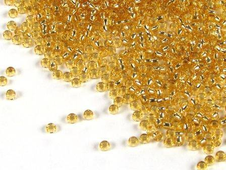 Rocailles 4mm 6/0 Silbereinzug topas
