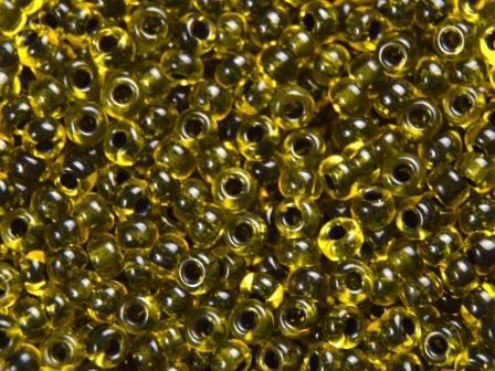 Rocailles 2,6mm Gelb Farbeinzug schwarz