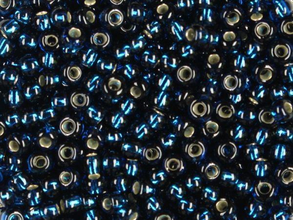 Rocailles 2,6mm silbereinzug montanblau