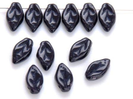 Glas-Blätter-Perlen 10x6 schwarz