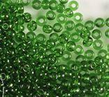 Rocailles 2,6mm 9/0 transparent dkl smaragd grün